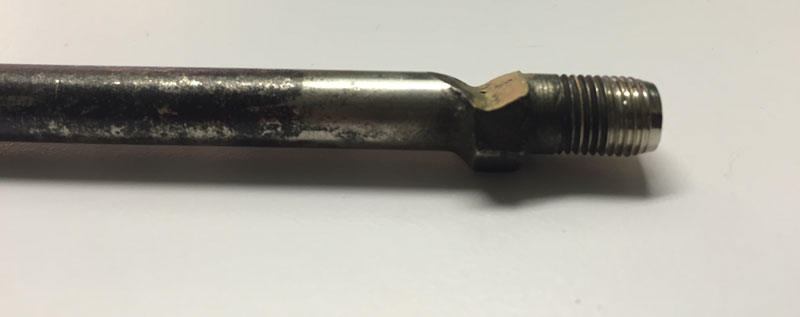 RV extender with friction damage which caused a leak.